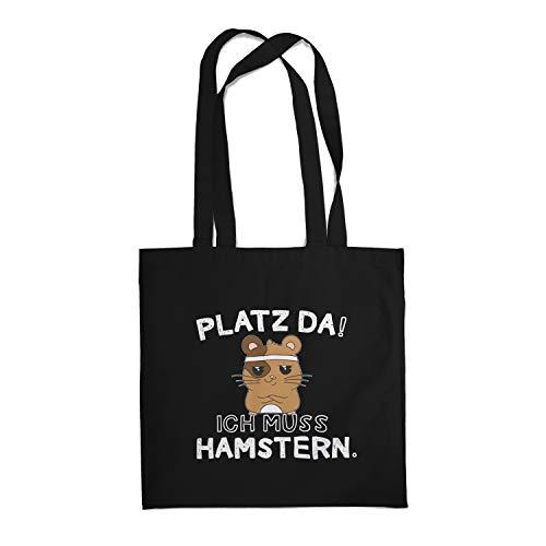 Fashionalarm Stoffbeutel - Platz da! Ich muss hamstern. | Fun Beutel Baumwoll-Tasche mit Spruch Hamsterkäufe 2020 COVID-19 Corona-Satire Virus, Schwarz One Size