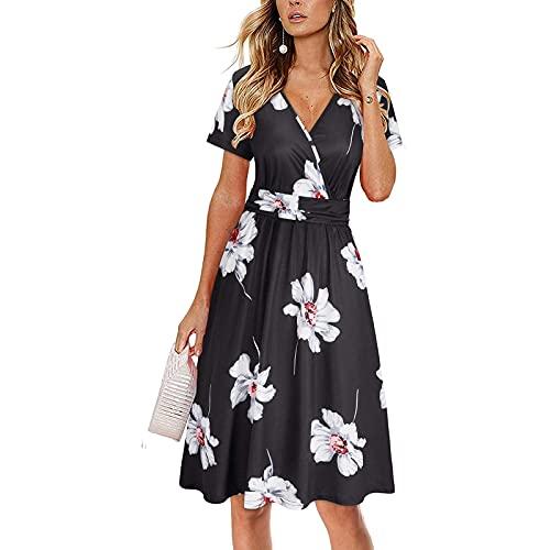 YANFANG Vestido De Playa Mujer,Vestido Suelto Maxi con Estampado Floral Informal Sin Mangas para Mujer,Ropa Verano Ropa Dormir Fiesta Color SóLido,Negro,XL