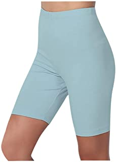 Beihsi Womens Sport Yoga Solid Mid Thigh Stretch Cotton Span High Waist Active Short Leggings