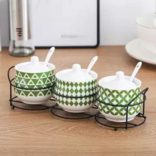 NTR Dreiteilige Gewürzdose Keramik Gewürzglas Vierteilige Box Küche Gewürzflasche Gewürz Salzstreuer 3-teiliger Anzug8