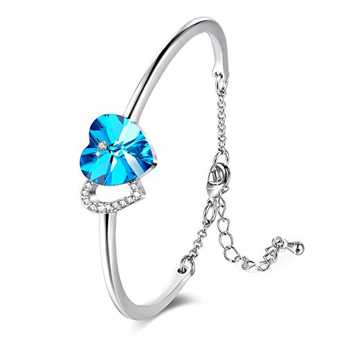 DEQIAODE armband dames Double Heart Shaped Blue Crystal van Swarovski Elements, legering