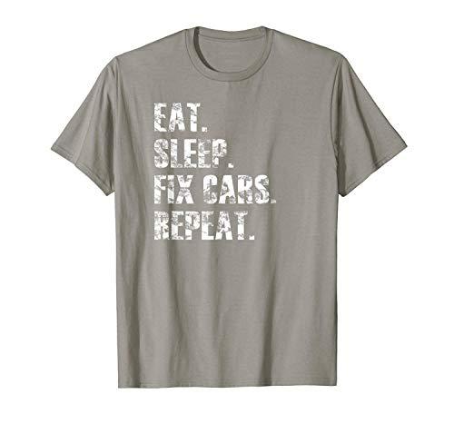N/A T Shirt Cool Eat Sleep Fix Cars Repeat Mechanic Distressed