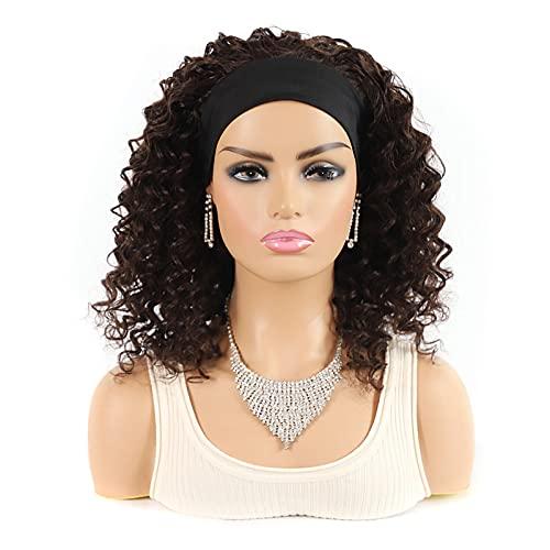 Peluca de cabello humano real Arnés 14 pulgadas 2# Rollo profundo Negro Bob Peluca Sombrero Sombrero Corto Color africano Turbante Peluca Sombrero