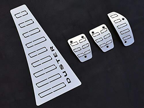 Pedale Set mit Fußstütze Stahlabdeckung für Duster 2 II 2th - 4 Stück Pedal Pedalkappen Brems Gas Kupplungspedal Fußablage Fußpedal Zubehör Edelstahl Gebürstet Komplett
