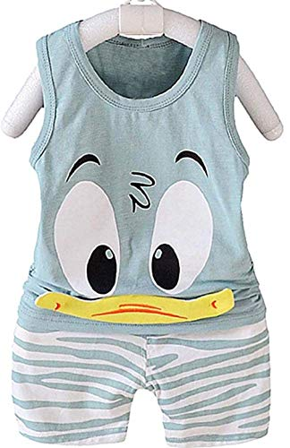 KIRALOVE Cooles Baby Sommer Outfit - Tank top - Shorts - Ente - 12 Monate - 80 cm - graue Farbe - frühling - Sommer