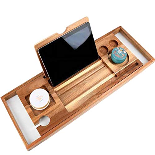 Bathtub Trays Expandable Bath Tray with Extending Sides Built in Book Tablet Holder Cellphone Tray & Integrated Wineglass Holder and Other Accessories Placement,