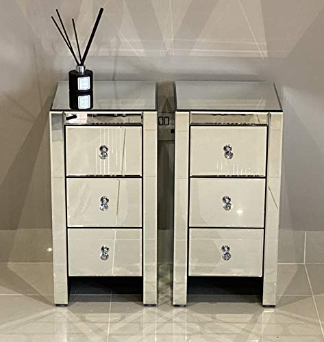 CMD Furniture Pair of Mirrored bedside tables units cabinets with three drawers and crystal handles