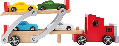 Small Foot Company (smb5v)- Camion Transport Bois avec Rampe, Jouet pour Enfants avec remorque Amovible et 4 Voitures de Couleur Univers de Jeu, 4222