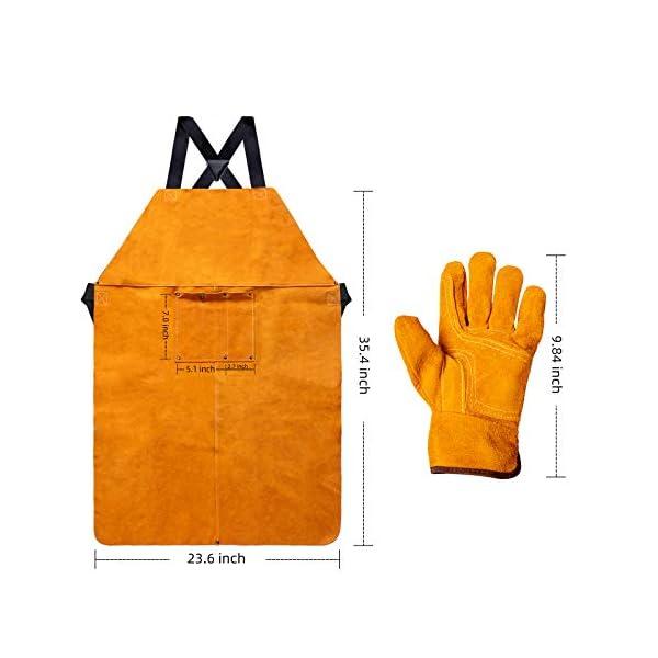 Heavy Duty Work Shop Leather Welding Apron with Welding Gloves 2