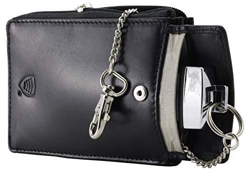 KORUMA KFZ RFID Schutz Schlüssel Signal Blocker Case - schwarz Leder Tasche Abschirmung - Keyless Go Schutz Autoschlüssel - Keyfob Entry FOB Guard - Diebstahl Lock Geräte - Datenschutz Sicherheit