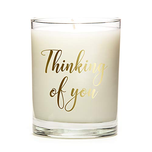 Thinking of You | Metallic | Custom Candle with Color Options | Multiple Scent Options | 11 Ounce Clear Glass Jar Candle | Coffee Fragrance | Natural Soy Wax