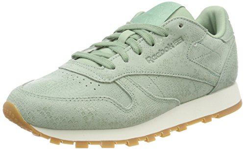 Reebok Cl Lthr, Zapatillas de Gimnasia, Verde (Exotic-Industrial Green/Chalk 0), 35.5 EU