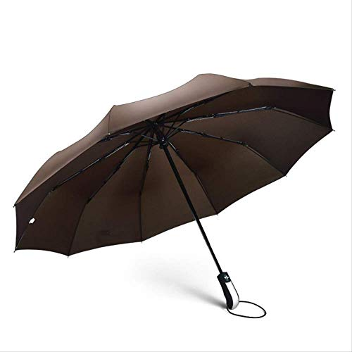 ZPF Paraguas Fuerte Hombres Paraguas A Prueba De Viento Viajes Tres Paraguas Plegables Lluvia Mujeres Calidad Paraguas De GolfGris Claro