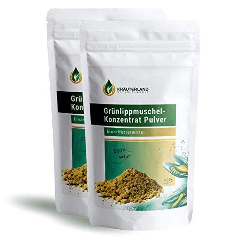 Kräuterland Grünlippmuschel Pulver Hund 1000g - 100% pur und rein - Grünlippmuschelpulver aus Neuseeland - für Hunde, Katzen, Pferde