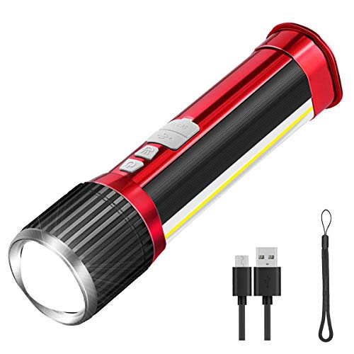 LED Taschenlampe USB Aufladen Zoom, ZOYJITU 2020 Wasserdicht Taschenlampen für Outdoor Sports Mit COB Seitenlicht, 7 Licht Modi, 12 Stunden arbeiten, Keine Batterie erforderlich, Kann als Powerbank