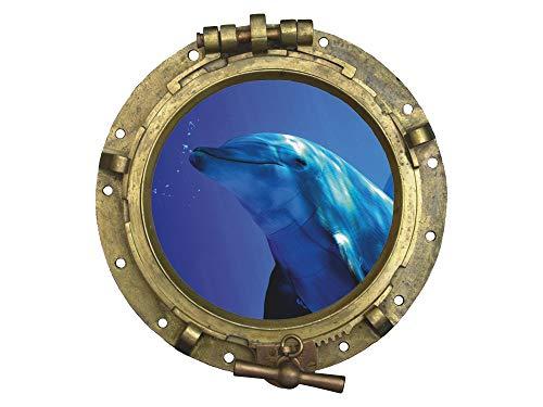 GRAZDesign Fliesenbilder Bad Badezimmer WC Delfin - Wandsticker Fliesensticker maritim Unterwasserwelt - Wandtattoo Bullauge Meer Ozean / 43x40cm / 721009_40
