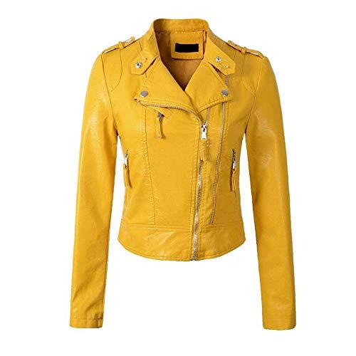 DANWJDP Frauen Lederjacke,Frühling Herbst Frauen Faux Leder Jacke Mode Kurze Bauform Epaulet Reißverschlüsse Mäntel Damen gelbe Weiche PU Leder Motorrad Biker Slim Oberbekleidung,XL
