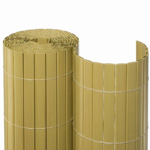 NOOR Sichtschutzmatte PVC 2,00 x 10m Bambus I Wasserdichter Sichtschutz aus Kunststoff für Gärten I UV-beständige Zaunmatte für Tennisplätze und Balkone