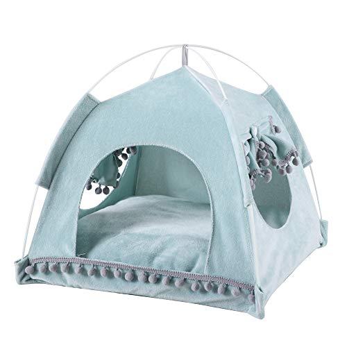 JuneJour Tienda para Mascotas con Cama,Casa de Lona para Perros y Gatos, Casa para Mascotas con Cojín, Ideal para Bajo Techo, en exteriors,Casetas para Perros de Color Azul,L(48*48*49cm)