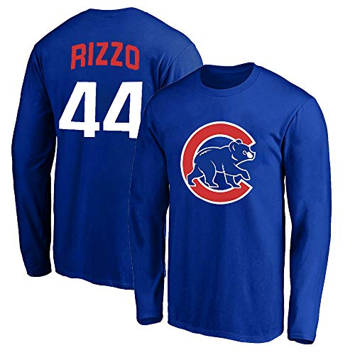 Outerstuff MLB Youth 8-20 Team Color Alternate Primary Logo Name and Number Long Sleeve Player T-Shirt (Anthony Rizzo Chicago Cubs Blue, 14-16)