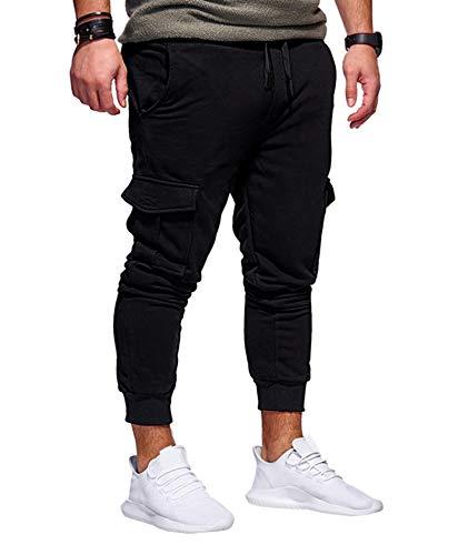 SOMTHRON Herren Elastische Taille Gürtel Baumwolle Jogging Sweat Hosen Plus Size Mode Lange Sports Cargo Hosen Shorts mit Taschen Joggers Activewear Hosen-BL-3XL
