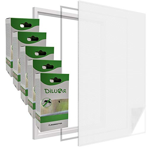 DILUMA   Fliegengitter Fenster 130x150 cm Weiß 5er Set   Durchsichtiges & Kürzbares Fliegennetz mit 5,6m Klettband   zuverlässiger Schutz vor Mücken, Fliegen & Insekten - Insektenschutz ohne Bohren