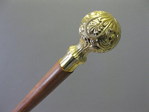 Bâton de marche en bois noble avec poignée en laiton 95 cm M42