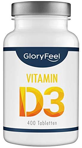 Vitamin D3 1000 IE - 400 Tabletten Hochdosiert (1 Jahr) - Unterstützt Knochen, Zähne, Muskeln und Immunsystem* - Laborgeprüft und ohne Zusätze hergestellt in Deutschland