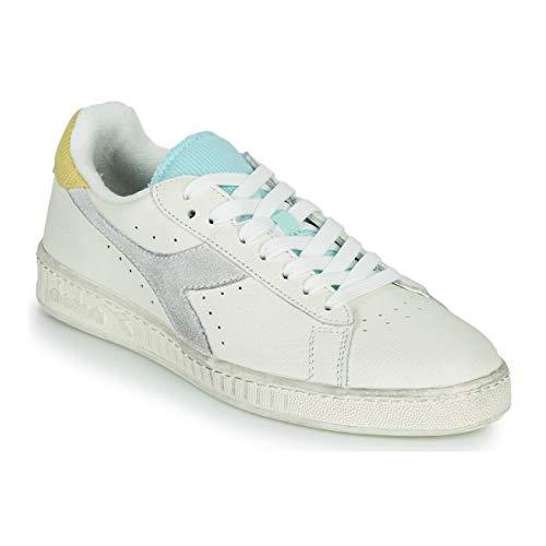Diadora Game L Low Icona Wn Sneaker Donna 501.177363 C9160 Bianco Giallo Cardellino Blu Tint (Numeric_36)
