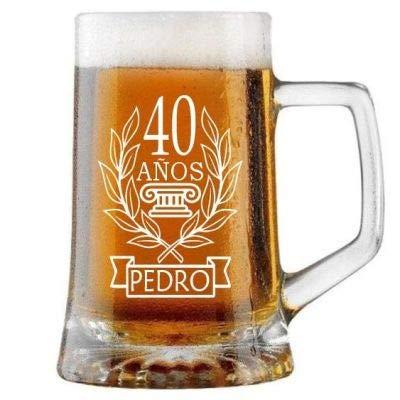 Jarra de Cerveza Personalizada CUMPLEAÑOS LAUREL HOMBRE. Regalo Grabado y Personalizado para Hombre o Mujer. Detalle para Celebraciones Cumpleaños Aniversario Regalo Día de la Madre Jubilación