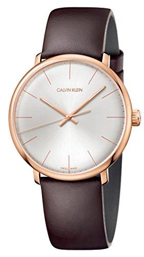 Orologio Calvin Klein CK High Noon k8m216g6 Al quarzo (batteria) Acciaio placcato oro rosa Quandrante Argento Cinturino Pelle