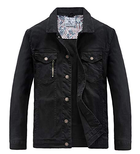 JYG Men's Casual Button Down Denim Jacket Classic Trucker Jean Coat (Black, Large)