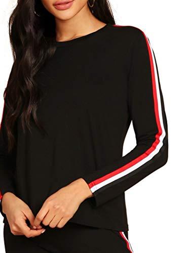 Shocknshop Cotton Blend Black Side Striped Tracksuit Top & Leggings Pant Set for Women and Girls (Small, Black)