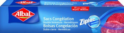 Albal 15 Sacs Congélation, Fermeture Ultra-Zip, Hermétique, 3L