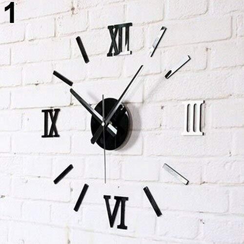 Stephen Wall Clocks - 3D Acrylic Mirror Surface Roman Numerals Wall Clock Stickers Home DIY Decor 10wg - by 1 PCs