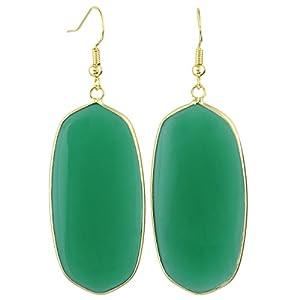 Women's Black Agate Dangle Drop Oval Earrings