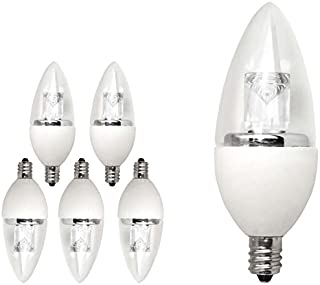 TCP 15W Equivalent LED Decorative Torpedo Candelabra Base Light Bulbs, Non-Dimmable, Soft White (6 Pack)