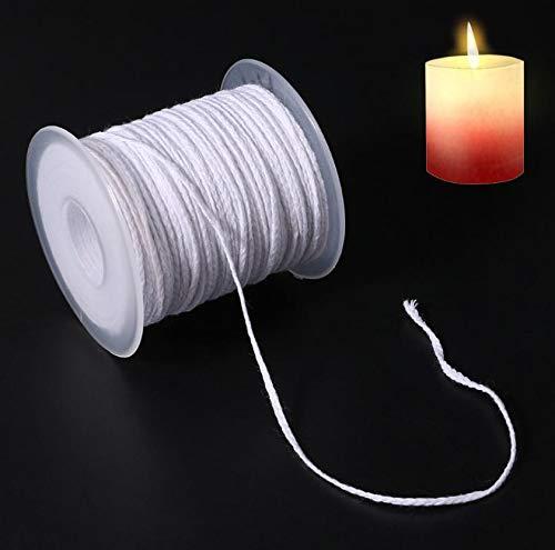 Stoppini per candele per fare candele, stoppino per candele in cotone intrecciato 61M 24 azioni su un rotolo, bobina per candele a stoppino fatta a mano per candele a olio fai-da-te (non pre cerata)