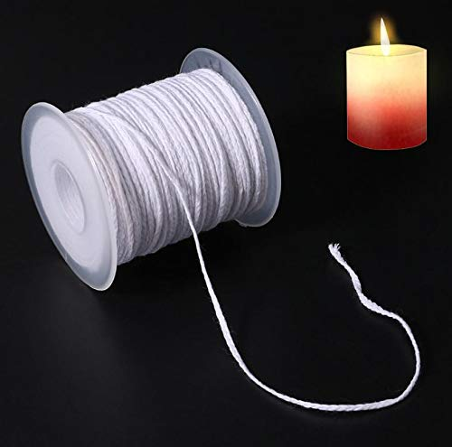 Candle Wicks for Making Candles, Braided Cotton Candle Wick 61M 24 Shares On a Roll, Handmade Candle Wax Wick Core Spool for DIY Oil Lamps Craft Candle Making Supplies (Non Pre Waxed)