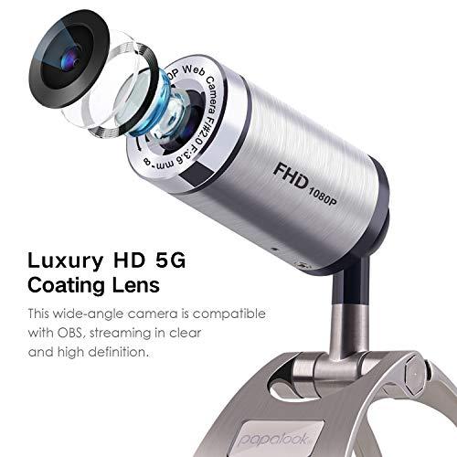 PAPALOOK PA150S Full HD 1080P Webcam mit Geräuschunterdrückung Mikrofon,USB Computer Web Kamera Plug and Play Web Cam für PC Laptop Notebook,Kompatibel mit Windows XP SP2/Visa/7/8/10 MAC OS