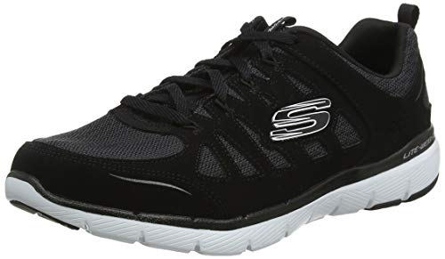 Skechers Flex Appeal 3.0-Billow, Zapatillas Mujer, Negro (Black Leather/Mesh/White Trim BKW), 39 EU