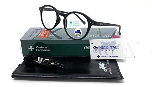 New Model Gafas de lectura con filtro bloqueo de luz azul para gaming, ordenador, móvil. Anti fatiga Lennon Professional Executive UNISEX venice (Negro, 2.50)