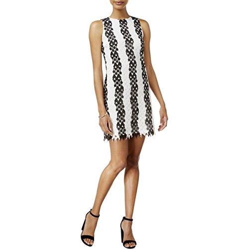 Bar III Women's Lace Striped Cocktail Dress Black Combo Medium