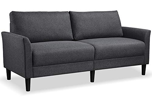 YAHEETECH Modern Loveseat Sofa Couch Linen Fabric Upholstery Sofa Couch Love Seat Flared Armrests Pillow Top Backrest Loveseat Gray 75.5in