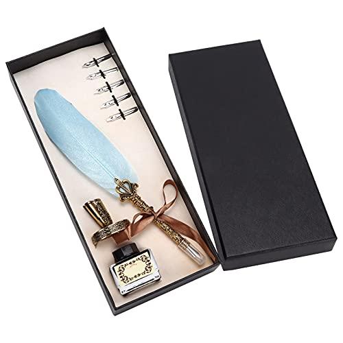 Pluma de pluma, pluma de pluma Diseño de agarre científico Punta plana de 1-5 mm para la creación para la práctica de la caligrafía(cielo azul)