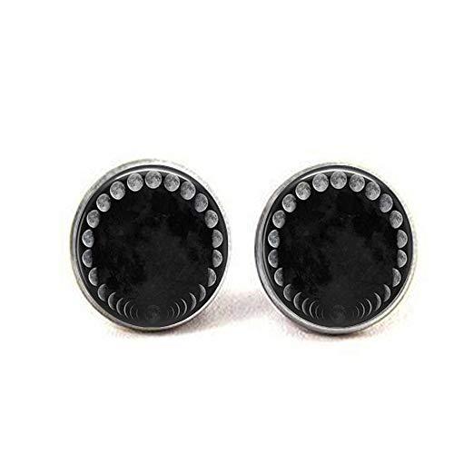 lukuhan Wicca-Anhänger Halskette Mondphasen Mondnebel Ohrringe literarischer Schmuck