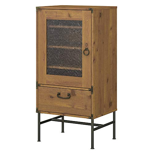 kathy ireland Home by Bush Furniture Ironworks Audio Storage Cabinet in Vintage Golden Pine