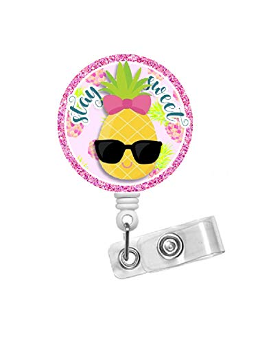 Penny Pineapple Badge Holder - Nurse Badge Reel - Hawaii Badge Reel - Badge Holder - Fruit Badge Reel - Dietitian Badge - RN - RD (Alligator Swivel Clip)