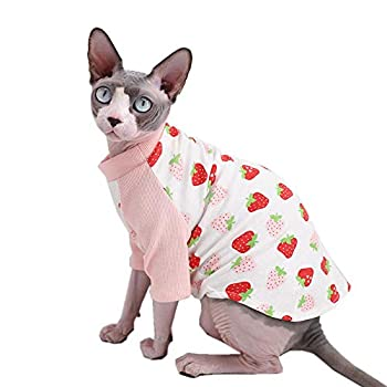 Sphynx Hairless Cat Cute Breathable Summer Cotton T-Shirts Milk Bottle Pattern Pet Clothes,Round Collar Vest Kitten Shirts Sleeveless Cats & Small Dogs Apparel  XL  9-12.1 lbs  Strawberry