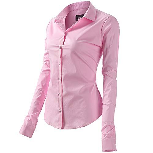 FLY HAWK Bluse Hemdbluse Damen Hemd Basic Kent-Kragen Elegant OL Work Slim Fit Langarm Stretch Formelle Hemden,Rosa, Größe 40, Hersteller - 12